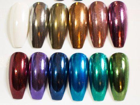 Chrome Nails - Fake Nails - Press On Nails - Coffin Nails - Ballerina Nails - Metallic Nails - Long  #Ballerina #Chrome #Coffin #Fake #Long #metallic #Nails #Press Long Nails