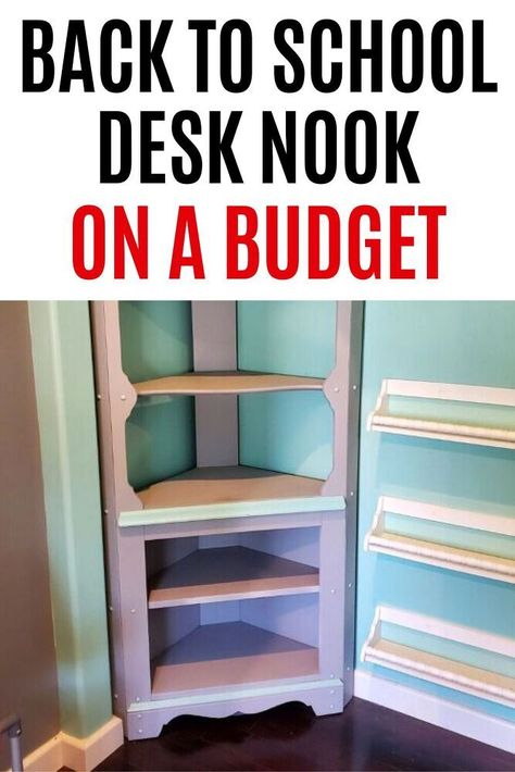 Quick and cheap closet desk nook makeover just in time for back to school. Check out this budget friendly idea how to turn a small nook into a fun desk nook for homework.