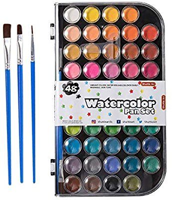 Amazon Com 48 Colors Watercolor Paint Shuttle Art Watercolor Pan