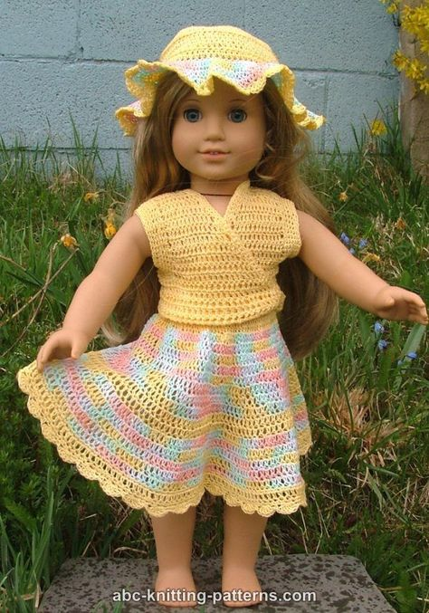 For Addie's katie doll - ABC Knitting Patterns - American Girl Doll Sleeveless Wrap TopABC Knitting Patterns - American Girl Doll Buttercup Hat Absolutely adorable and can also do a skirt and top!free crochet patterns for american girl doll clothes - Crochet Skirt Outfit, Crochet Doll Dress, Crochet Doll Clothes, Crochet Doll Pattern, Knitted Dolls, Girl Doll Clothes, Doll Clothes Patterns, Girl Dolls, Doll Patterns
