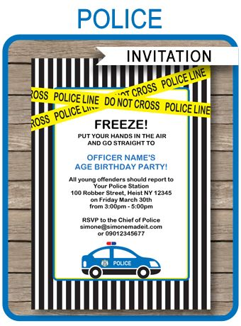 Police Birthday Party Invitations Template Frozen printable - crime report template