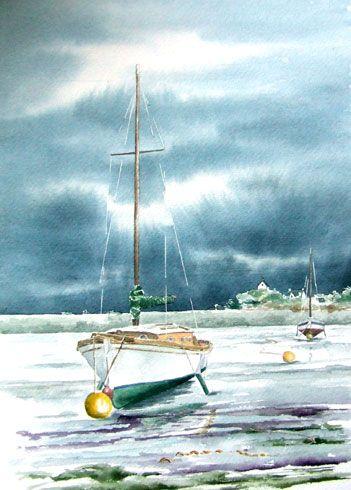 Bernard Beaulien Watercolor Art Voilier Aquarelle Peinture A L Eau
