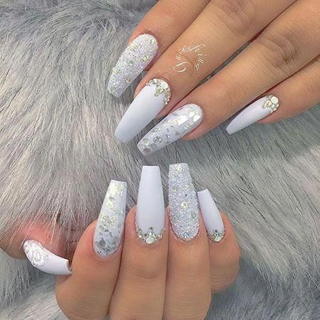 White And Silver Acrylic Nails Birthdaynails White Coffin Nails Silver Acrylic Nails Diamond Nail Designs