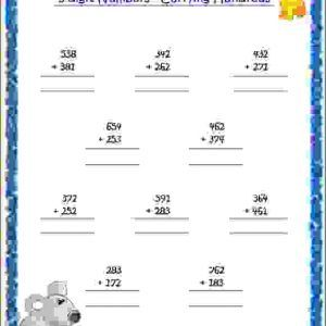Cbse Maths Addition With Carrying Worksheets Addition With