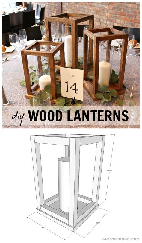 Make your own wedding table decor with beautiful DIY wood lantern centerpieces. Perfect for any event - holiday party, special celebration - and super easy to construct. crafts with wood DIY Wood Lantern Centerpieces - Jaime Costiglio Beginner Woodworking Projects, Diy Woodworking, Woodworking Furniture, Popular Woodworking, Carpentry Projects, Scrap Wood Projects, Sketchup Woodworking, Intarsia Woodworking, Woodworking Patterns
