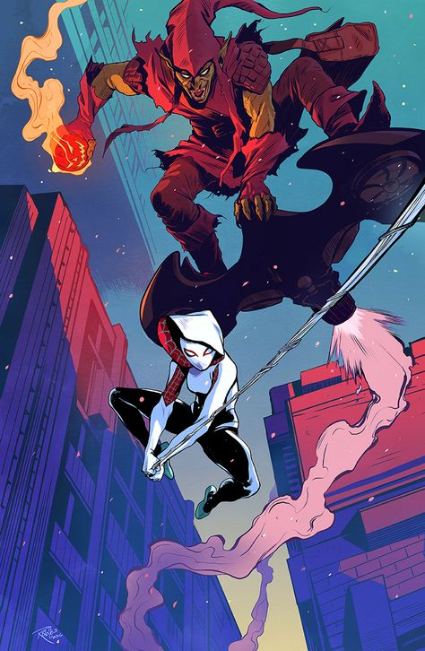 """nickroblesart: """" Spider-Gwen V. The Green Goblin (2016) A private commission that I had far too much fun with! I've never drawn either of these characters, never used these colors before, and couldn't..."""