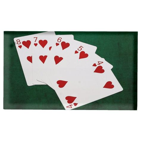 Poker Hands - Straight Flush - Hearts Suit Place Card Holder - tap/click to get yours right now! #PlaceCardHolder #affiliatelink #poker, #poker #hand, #playing