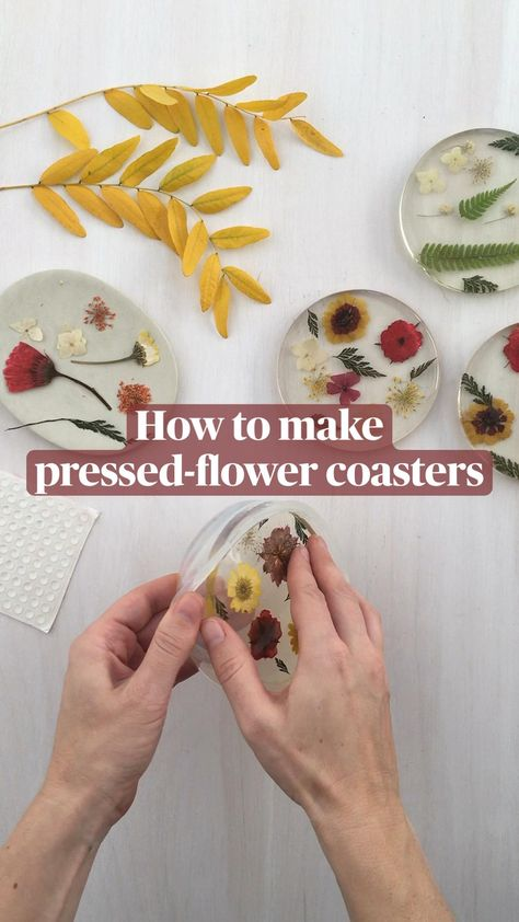 How to make  pressed-flower coasters