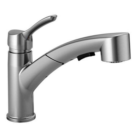 Delta Classic Single Handle Pull Out Kitchen Faucet Blue Pull