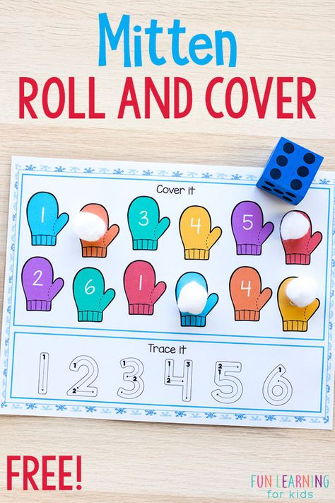 Mitten Roll and Cover Mats - - This mitten roll and cover activity is perfect for winter literacy and math centers. This winter activity is a fun and engaging way to learn letter sounds and number sense. Preschool Lessons, Kindergarten Activities, Preschool Activities, Preschool Centers, Winter Literacy Kindergarten, Creative Curriculum Preschool, Number Sense Kindergarten, Counting Activities, Fun Learning