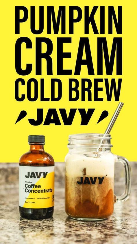 Be a barista at home and make a fall-inspired coffee recipe using Javy Coffee like this amazing Pumpkin Cream Cold Brew Recipe. You can check out our website for more coffee recipes! #coffeerecipe #fallrecipe #fallcoffee #fallinspired #javycoffee #icedcoffee #coldbrew