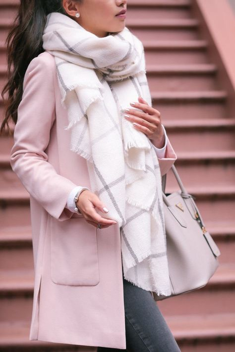 Extra Petite  //  blush pink coat + grey  |  pinterest: @Blancazh