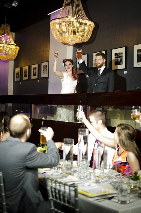 Bride And Groom Give Toast At Wedding Reception At The Broadberry