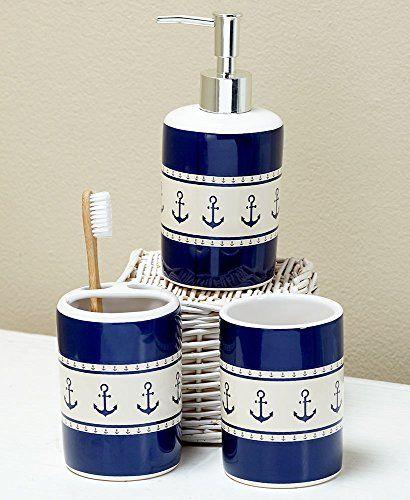 The Lakeside Collection Newport 3 Pc Sink Set The Lakesi Https Www Amazon Com Dp Nautical Bathroom Decor Nautical Bathrooms Nautical Bathroom Accessories