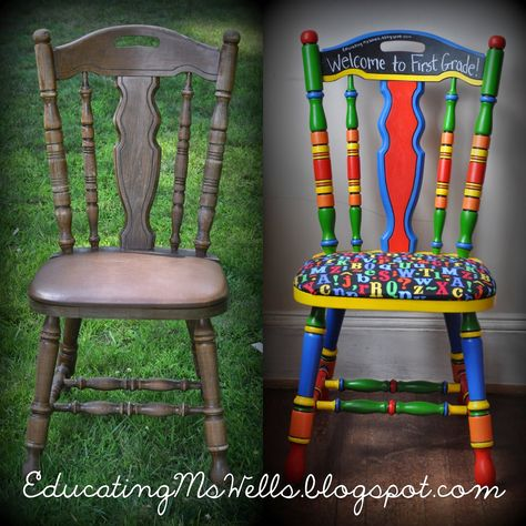 Painted Teacher Chair with Chalkboard Paint for a Circus Themed Classroom                                                                                                                                                     More