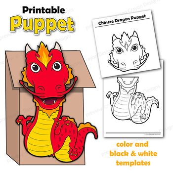 Chinese Dragon Craft Activity Paper Bag Puppet Template Paper