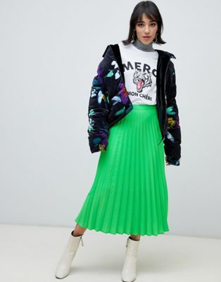 20d7d23a2dbe91 Stradivarius pleat skirt in neon green in 2019 | Clothes | Pleated ...