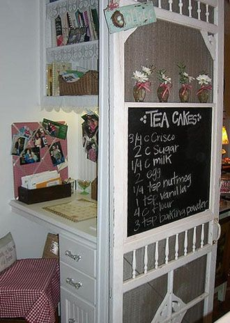 Turn an old screen door into a Menu Board  Shelf. (DIY Craft Projects using Old Vintage Windows Doors - Trash to Treasure - Architectural Salvage)