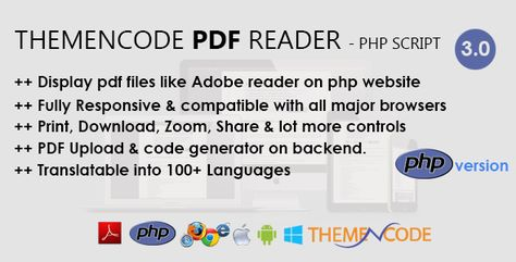 ThemeNcode PDF Reader – PHP Script | Codelib App