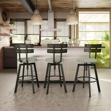 Enjoyable Amisco Knowlton Screw Metal Stool 2 Gun Metal Finish Beige Gmtry Best Dining Table And Chair Ideas Images Gmtryco