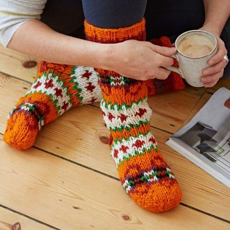 Funky Hand Knitted Winter Woollen Makalu Socks Black /& White