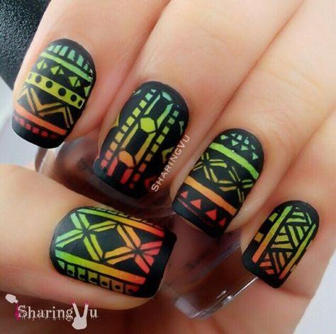 Ombré Tribal Nails nail art by SharingVu