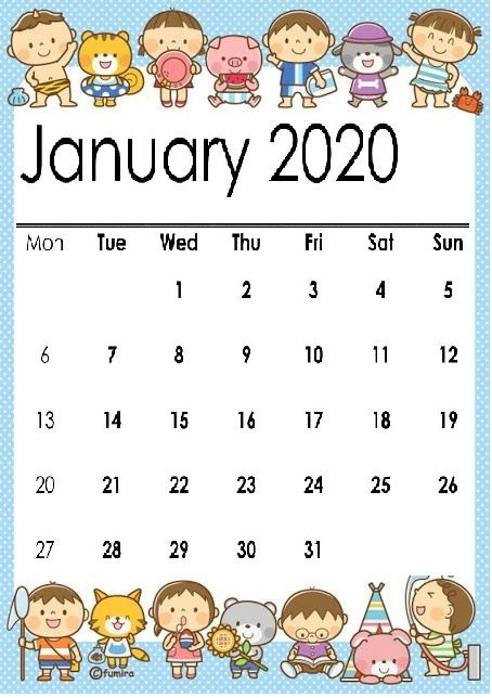 Cute January 2020 Calendar Printable Wallpapers Hd Wall Calendar