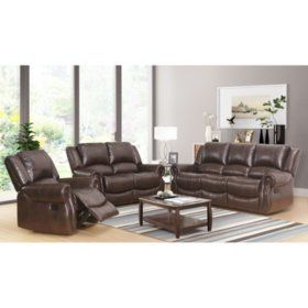 Claire Leather Reversible Sectional And Ottoman Assorted Colors Sam S Club Living Room Leather 3 Piece Living Room Set Living Room Sets