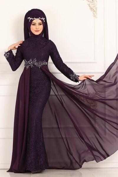 Modaselvim Abiye Beli Incili Balik Abiye 8855w153 Mor Elbiseler Giyim Kiyafet