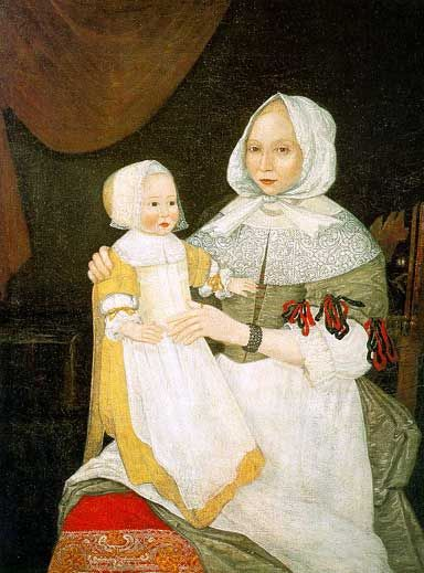 Portrait of Mrs. Elizabeth Freake and baby Mary. done by an early american limner