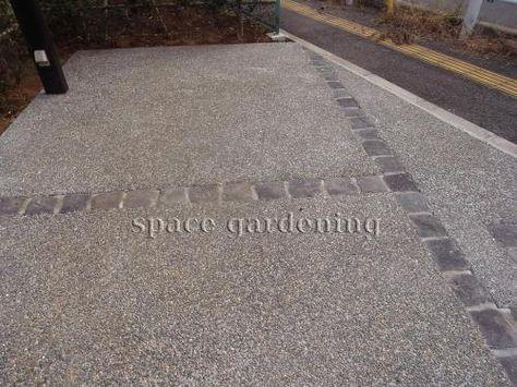 駐車場 洗い出し コンクリート 目地 ピンコロ コンクリート 洗い出し