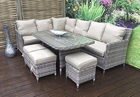 da9a842db63e Homeflair Rattan Garden Furniture Edwina grey corner sofa,Dining Table,3  stools