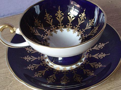 Antique Aynsley blue and gold tea cup set vintage by ShoponSherman, $99.00