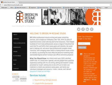 Website redesign for Brooklyn Resume Studio My Work Pinterest - changing career resume