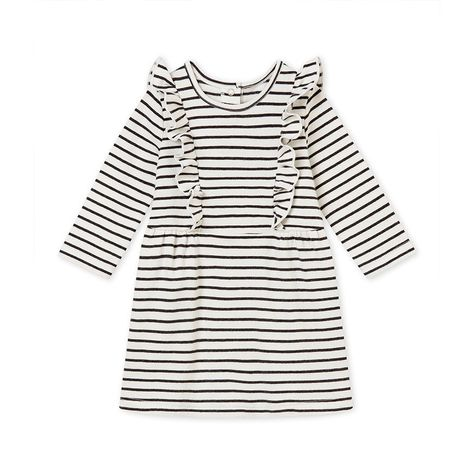 00461b21f2 Petit Bateau Baby Girl's Sailor Stripe Dress - 3 M (23 1/2 Inches) Gray