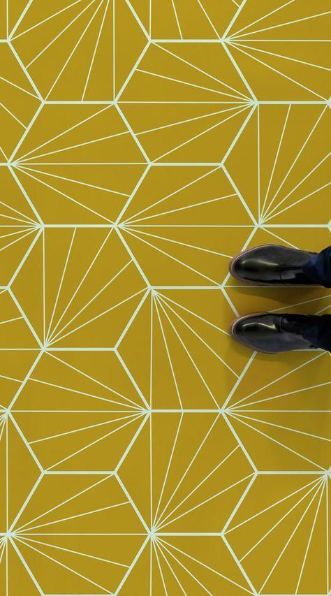 Starburst Is An Art Deco Tile Vinyl Flooring Design Featuring A Bright And Colourful Art Deco Inspired Faux Art Deco Tiles Vinyl Flooring Bathroom Yellow Tile
