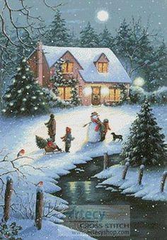 Christmas Eve - Christmas cross stitch pattern designed by Tereena Clarke. Category: Snowmen.
