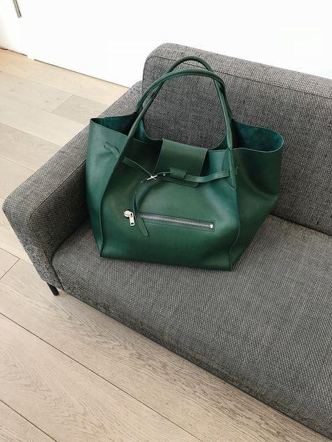 Celine Big Bag, Leather, green.