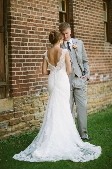 Lace wedding dress, rustic wedding, gray suit