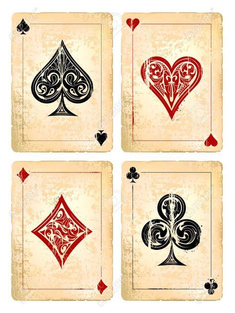 Grunge poker cards vector set. Vector illustration. Illustration , #Sponsored, #cards, #vector, #Grunge, #poker, #illustration