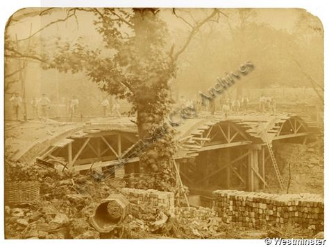"""Caption: """"View of the rebuilding of Macclesfield Bridge, Regent's Canal, after explosion of canal barge"""""""