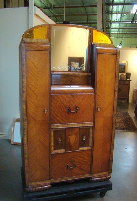 Trendy Deco Style Waterfall Veneer Armoire Lot What I Like Pinterest  Waterfalls Deco And Armoires With Armoire Art Deco.
