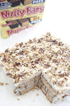 Nutty Bar Ice Cream Cake Recipe Your kids will love helping you make this easy Little Debbie Nutty Bar recipe! - Nutty Bar Ice Cream Cake Recipe - Capturing Joy with Kristen Duke Ice Cream Treats, Ice Cream Desserts, Frozen Desserts, Ice Cream Recipes, Easy Desserts, Dessert Recipes, Frozen Treats, Ice Cream Cakes, Icebox Cake Recipes