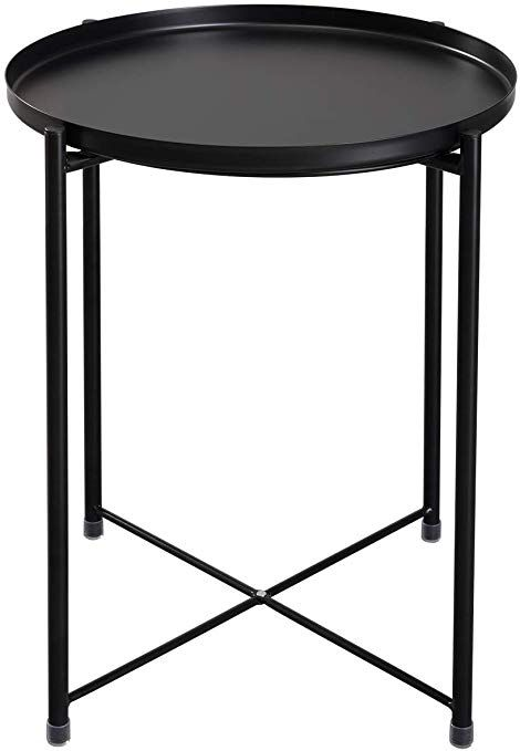 Hollyhome Tray Metal End Table Sofa Table Small Round Side Tables