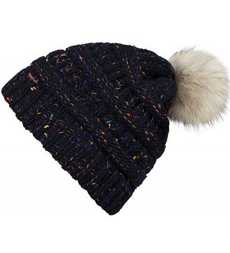 f0173d051ce13 Confetti Knit Beanie CC Style Ribbed Cable Knit Pom Pom Beanie Hat ...