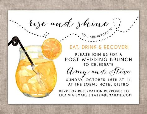 RISE AND SHINE - Post Wedding Brunch Invitation, Eat Drink and Recover Invitation, Wedding Luncheon Invitation, Brunch Shower Invitations