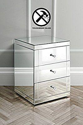 My Furniture Verspiegelter Nachttisch Mit 3 Schubladen Lucia