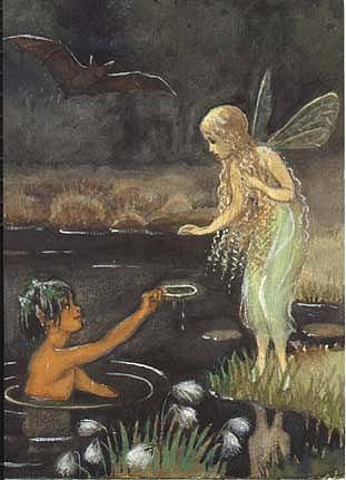 ≍ Nature's Fairy Nymphs ≍ magical elves, sprites, pixies and winged woodland faeries - Elsa Beskow From the book Bubbelimuck Elsa Beskow, Pretty Art, Cute Art, Art Bizarre, Arte Peculiar, Illustrations, Illustration Art, Vintage Fairies, Vintage Mermaid