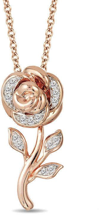 Zales Enchanted Disney Belle 1 10 Ct T W Diamond Rose Pendant In 10k Rose Gold 1 Wedding Jewelry Sets Bridal Jewellery Wedding Jewelry Sets Magical Jewelry