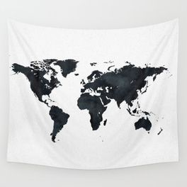 World Map In Black And White Ink On Paper Wall Tapestry World